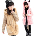 110-160cm Girls Winter Faux Fur Coat  Hooded Long Jacket Winter Warm Jacket Outerwear for Toddler Children Fashion Girls Top