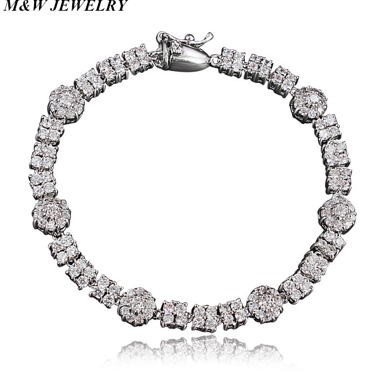 M&W JEWELRY Sparkling Exquisite Hot Style Zircon Bracelet European and American Bracelet for Women Bracelet Accessories