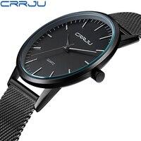 New Fashion Mens Watches Top Brand Luxury CRRJU Men Quartz Watch Mesh Band Stainless Steel Ultra
