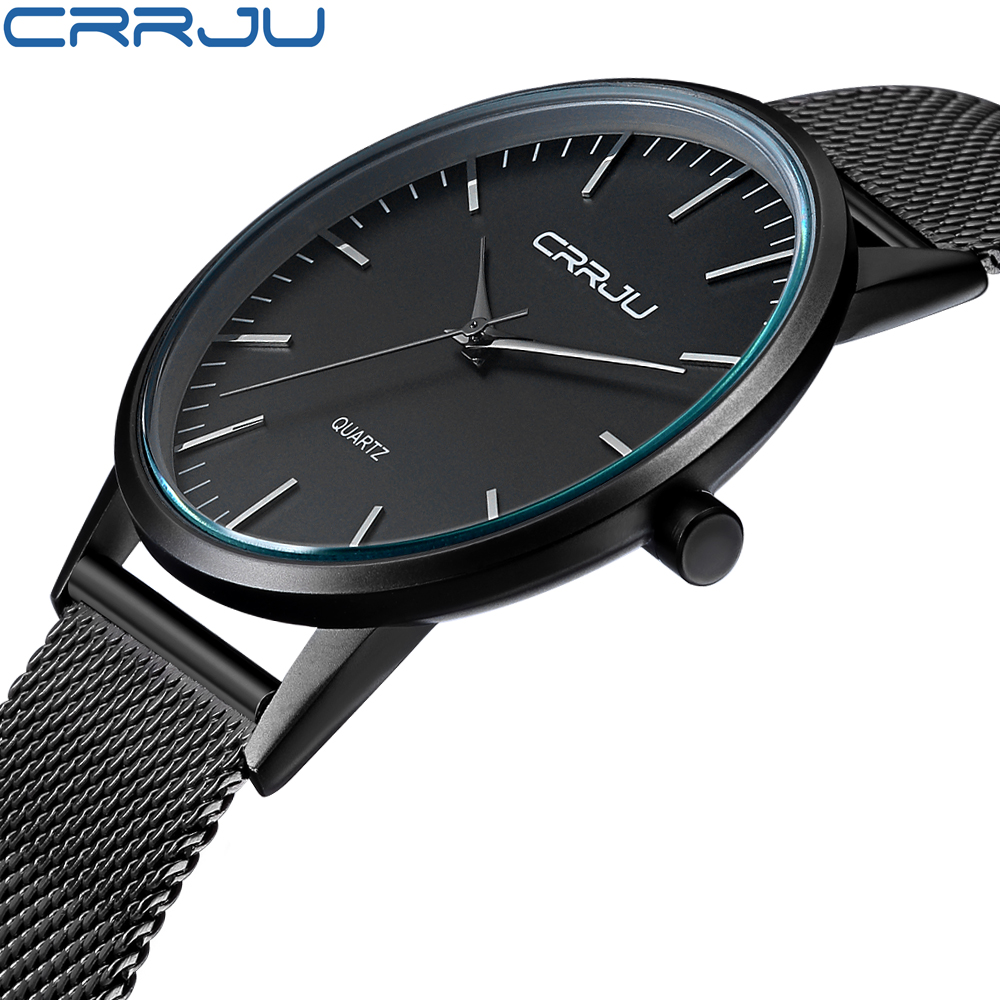 New Fashion Mens Watches Top Brand Luxury CRRJU Men Quartz Watch Mesh Band Stainless Steel Ultra Thin Clock Relogio Masculino цена 2017
