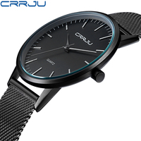 New Fashion Mens Watches Top Brand Luxury CRRJU Men Quartz Watch Mesh Band Stainless Steel Ultra