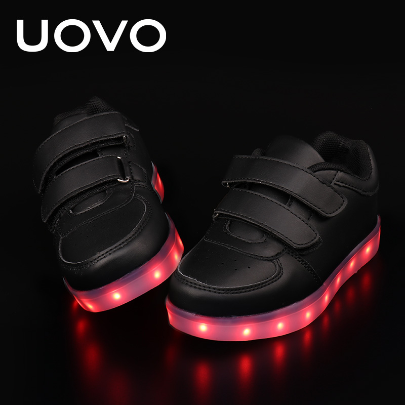 UOVO Kids Luminous Shoes toddler Boys & Girls LED White Shoes USB Charger Casual Sneakers Light Up Neon Glow Shoes Eur 25-35# children usb charger luminous shoes lace boys girls led light sneakers fashion kids night show casual shoes brand