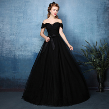 2016 Vintage Gothic Black Tulle Ball Gown Non White Wedding Dresses Long Off the Shoulder Floor Length Colorful Bridal Gowns