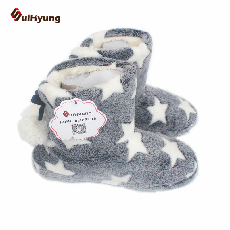 Suihyung Women Winter Cashmere Thermal Indoor Boots Cotton Shoes Star Home Plush Botas Female Non-slip Warm Cotton-padded Shoes fralosha white star thick plush warm indoor boots floor shoes shoes non slip soft home shoes boots and the same bathrobe series