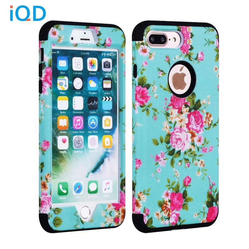 IQD Para iPhone 7 Capa Equipada 3 in1 kit de proteção holística à prova de choque (PC rígido + silicone macio) capa Para iPhone 7 Plus de proteção
