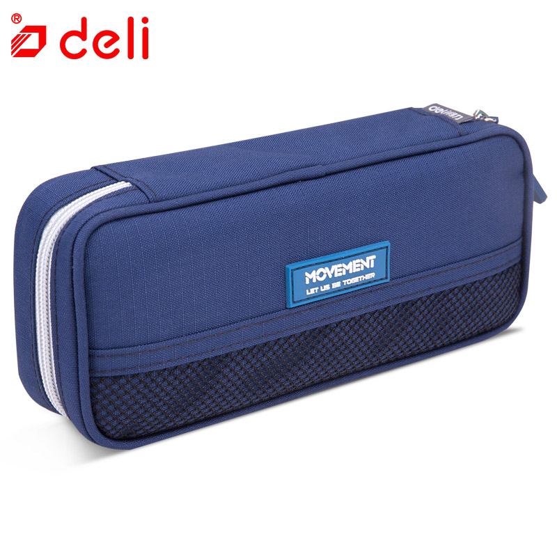 Deli Student Pencil Case School Supplies Canvas Bag School Child Office Organizer Stationery Pen Bag Pouch With Zipper Wholesale big capacity high quality canvas shark double layers pen pencil holder makeup case bag for school student with combination coded lock