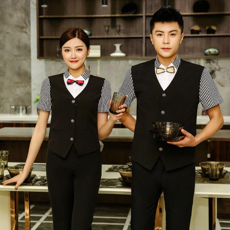 Hotel Workwear Summer Female Front Desk Waitress Uniform Restaurant Cafe Catering Women Waiter Men Short Sleeve Overalls H2412