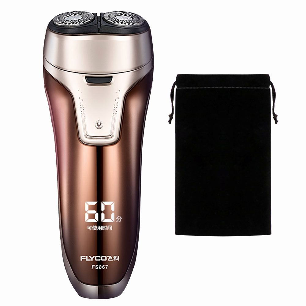 Flyco Professional Wet/dry Twin Afeitadora Men Electric Shaver Maquina De Barbear Rotary Beard Rechargeable Razor FS867-A Bag povos pq8608 wet dry power rechargeable men s razor
