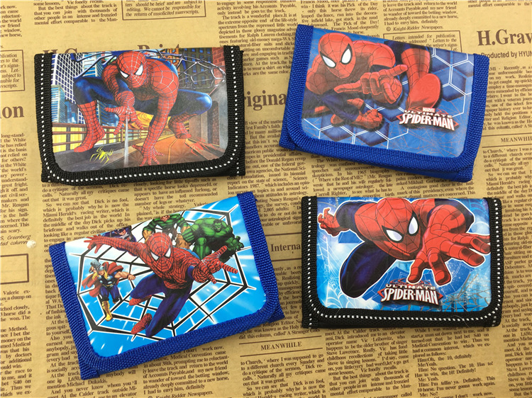 12PCS Spider man wallet kids happy Birthday party supply gift baby shower boy favor souvenirs