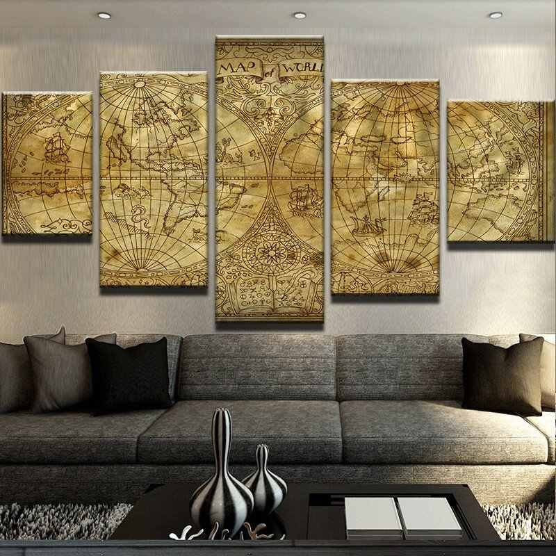 Wall Canvas Art HD Printed Painting Frame Modular Pictures For Home Decor 5 Pieces World Map Vintage Poster Drop Shipping