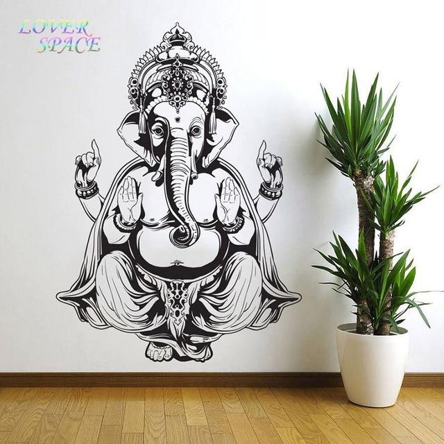 Vinyl Wall Sticker Art Decor Wall Decal Ganesh Buddha Elephant Om Yoga  Hindu Mandala 55X77CM