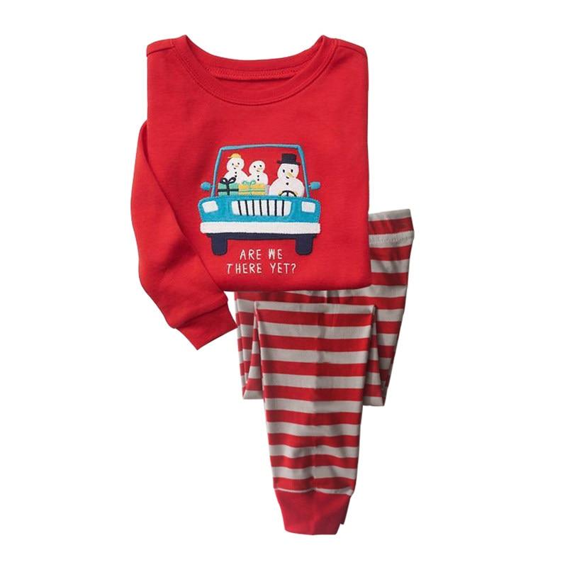 P853 Snowman Children Boys Pajamas Long Sleeve Cartoon