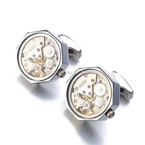 Image 3 - Многофункциональные Запонки со стеклом, нержавеющая сталь, стимпанк, механизм запонки для мужских часов