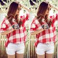2016 Nova Moda Casual Xadrez Camisa Mulheres Blusa Solta Longo verifique Camisa Lazer Vermelho E Branco Mulheres Casual Camisa Primavera outono