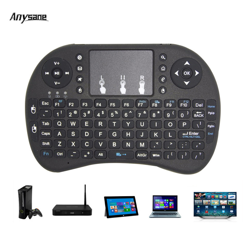 Mini 2.4Ghz 92 Keys Wireless Remote Control with Air Mouse Keyboard Touchpad Handheld Remote Controller for PC Gaming Andriod TV air mouse wireless remote touchpad control for android smart tv black