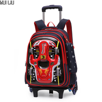 Children Trolley School Bag Backpack Wheeled 3D Car Printing book Bag For boy Gril Kids Wheel Schoolbag Student Latest Removable