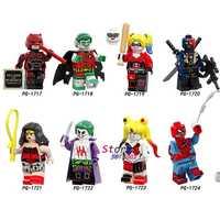 50pcs DC Red Son Robin Harley Quinn Deathstroke Wonder Woman Joker bizarro Spider-Man building block for children toys