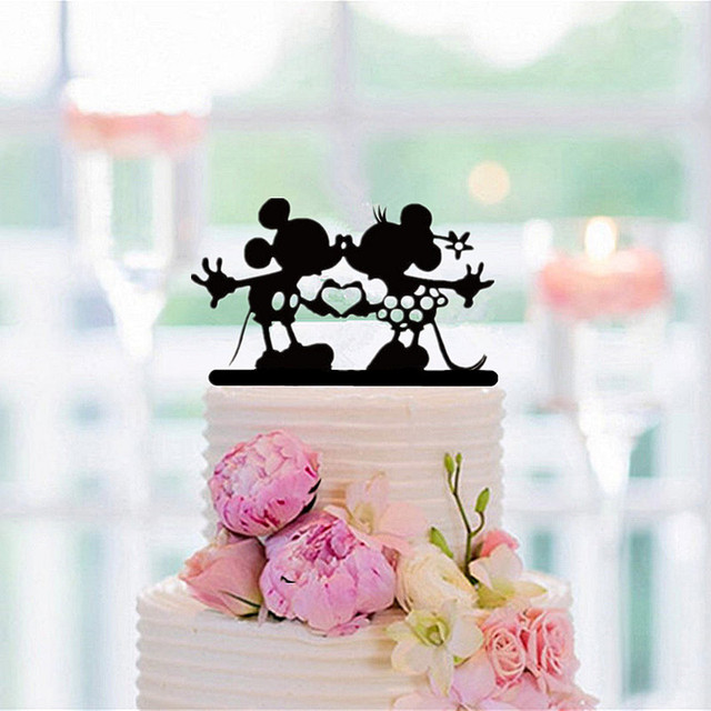 Black Acrylic Mickey Minnie Cake Topper For Wedding Party Decoration Accessory Baby Shower Favors Birthday
