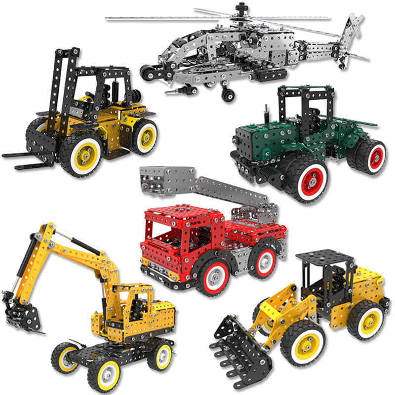 DIY 3D Stainless Steel Puzzle Toy Assembly Metal Excavator Fire Truck Forklift Helicopter Model Building Kits Toys Cars For Kids