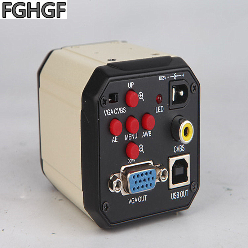 FGHGF Microscope VGA-2MP 2 mégapixels VGA caméra USB2.0 sortie synchrone Microscope stéréo Interface trinoculaire avec Crosshair