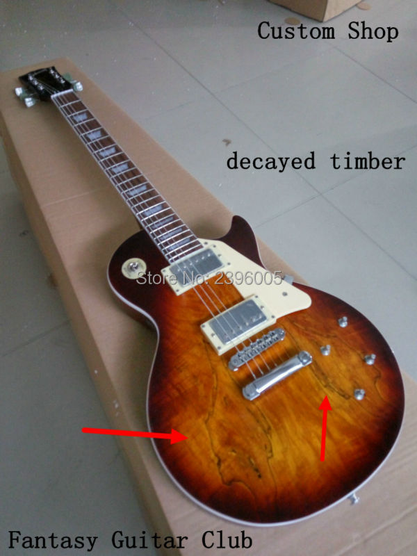 New arrival special decayed timber maple COVER CUSTOM LP electric Guitar,WAX PICKUPS CHROME HARDWARE HIGH QUALITY FREE SHIPPING