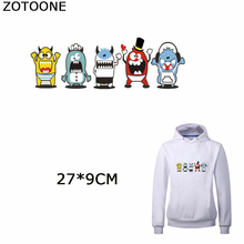 ZOTOONE Cartoon Monster Patch for Kids Clothes Heat Transfer Decor on T-shirt Garment Cute Patches Iron on Stickers Applications zotoone fashion puppy iron on transfer patch for clothing cartoon animals decors on t shirt applications clothes diy accessories