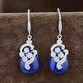 Natural Lapis Lazuli Brinco para As Mulheres S925 Prata boucle d'oreille Borla 925 Prata Esterlina Brincos Gota