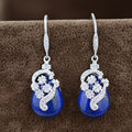 Natural Lapis Lazuli Earring for Women S925 Silver boucle d'oreille Tassel 925 Sterling Silver Drop Earrings