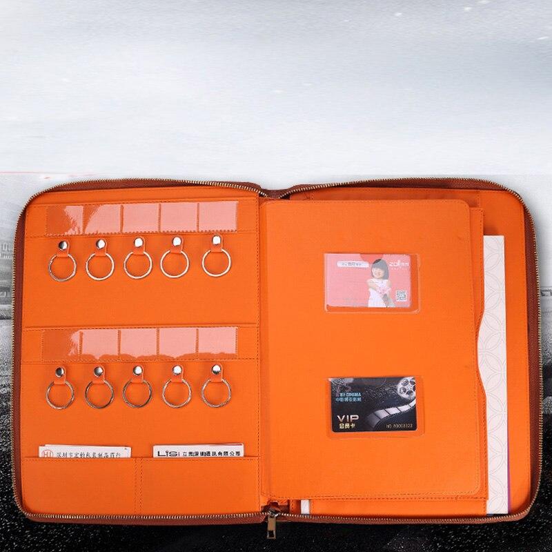 Multifonction a4 document zipper sac PU cuir fichier dossier pour les documents immobiliers avec clé crochet porte-cartes padfolio 1219