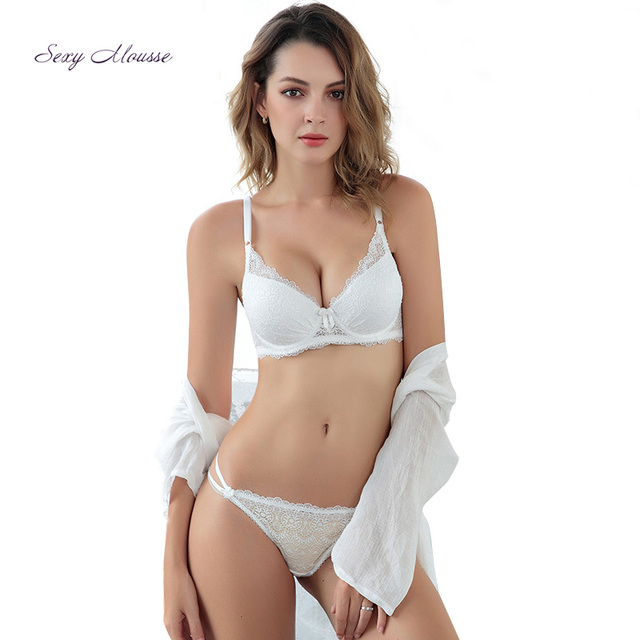 30c7433fed2 Sexy Mousse Women s Embroidery Bras Set Lace Lingerie Bra and Panties Solid  Colors See-through Lace Underwear Set 6019Tx