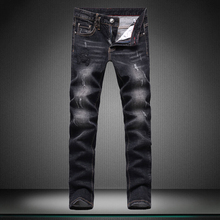 Джинсы мужчина Носить белый Показать тонкие мальчик джинсы прямые новое отверстие Маленькие ноги штаны Высокое качество дизайнер Бренда мужской брюки