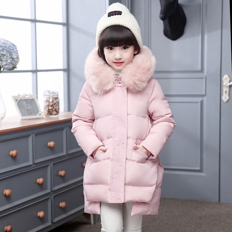 Korea girls down jacket 2017 winter kids outerwear duck dowm coat baby girls thick warm jackets big girl long children coats fashion 2017 girl s down jackets winter russia baby coats thick duck warm jacket for girls boys children outerwears 30 degree