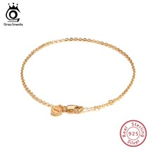ORSA JEWELS Real 925 Sterling Silver Bracelets For Women Sample Design Gold-color Bracelet Jewelry Party Gift OSB28
