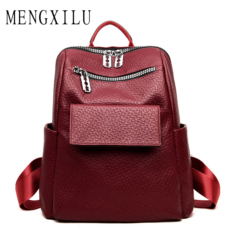 MENGXILU 2018 Women Backpack Female School Bags For Teenager Girls High Quality PU Leather Backpack Women Large Capacity Mochila high quality pu leather women backpack fashion solid school bags for teenager girls large capacity casual women black backpack l