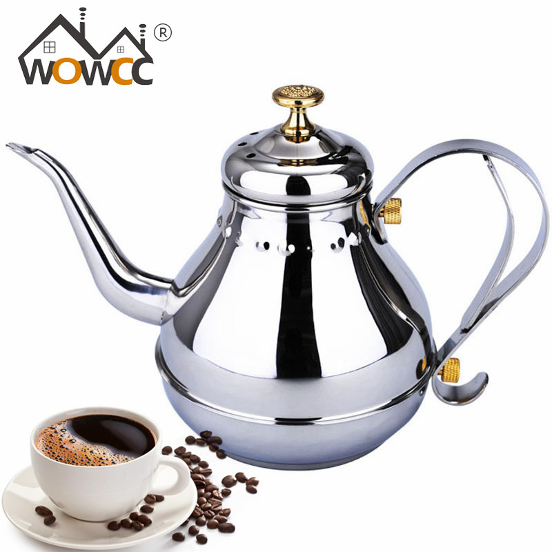 WOWCC 1.2L&1.8L Stainless Steel Coffee Pots European Style Hand Flush Palace Pot Fine Mouth Tea Water Pot Drink ToolsWOWCC 1.2L&1.8L Stainless Steel Coffee Pots European Style Hand Flush Palace Pot Fine Mouth Tea Water Pot Drink Tools