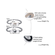 Puzzle Heart Couple Bracelets For Women Men CZ Stone Stainless Steel Link Chain Lover