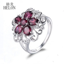 HELON  Women's Jewelry Elegant Flower Solid 10K White Gold Round & Oval 2.86ct Garnet Engagement Wedding Natural Diamonds Ring