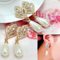 2 Pair Women's Crystal Rhinestone Heart Faux Pearl Stud Earrings Fancy Jewelry