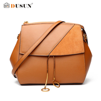 DUSUN Genuine Leather Vintage Messenger Bags Women Winter Fashion Shoulder Bag Ladies 2017 O Ring Crossbody