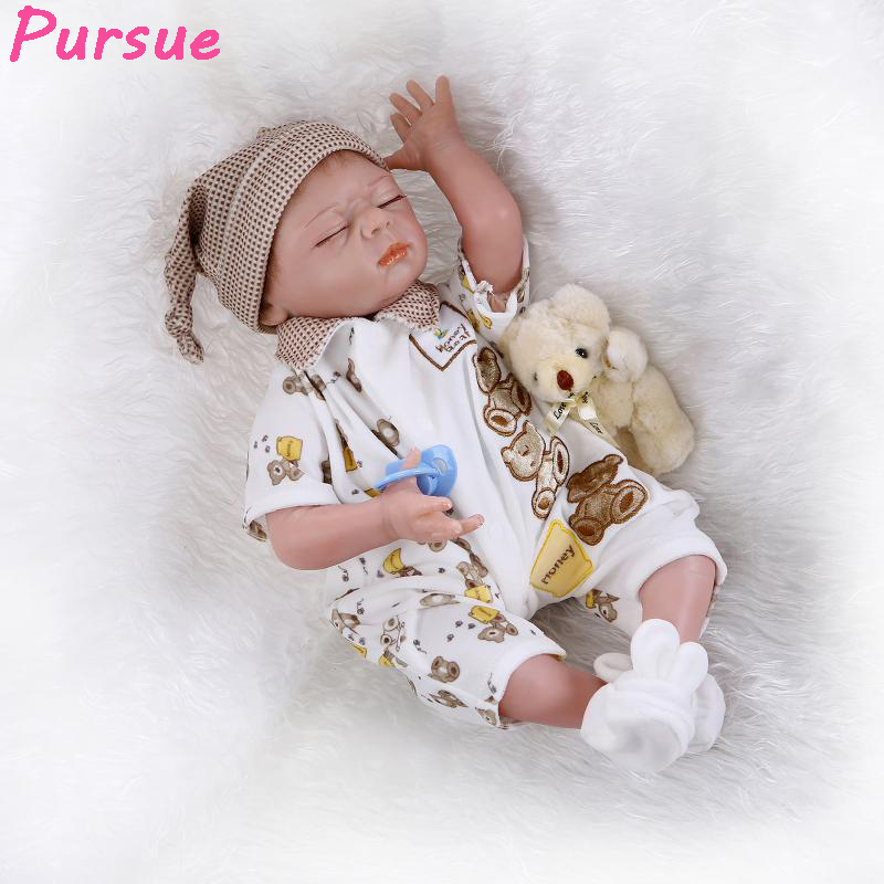 Pursue 22 inch Sleeping Reborn Babies Doll Baby Real Silicone Baby Dolls for Girls Reborn Toddler Dolls bebe reborn menino doll 22 silicone reborn dolls real reborn babies 100% handmade exquisite high quality brand doll reborn children gift doll