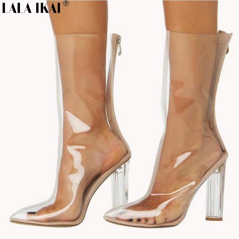 Lala Ikai Women Pvc Boots Pointed Toe Crystal Heel