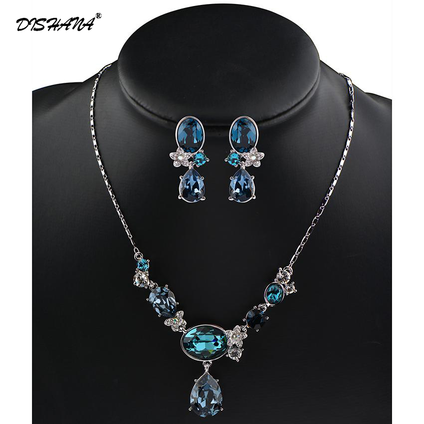 Full CZ Crystals Necklace Set Trendy Rhinestone Necklace Earrings Jewelry Set For Women Jewellery(JS0073) pair of trendy rhinestone oval leaf earrings for women page 7