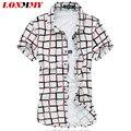 LONMMY Mercerizado algodão xadrez camisas dos homens De Alta qualidade de manga curta Mens camisas de vestido camisa roupas importadas 2016 Verão