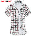 LONMMY Mercerized cotton plaid shirts men High quality Short sleeves Mens dress shirts camisa imported clothing 2016 Summer