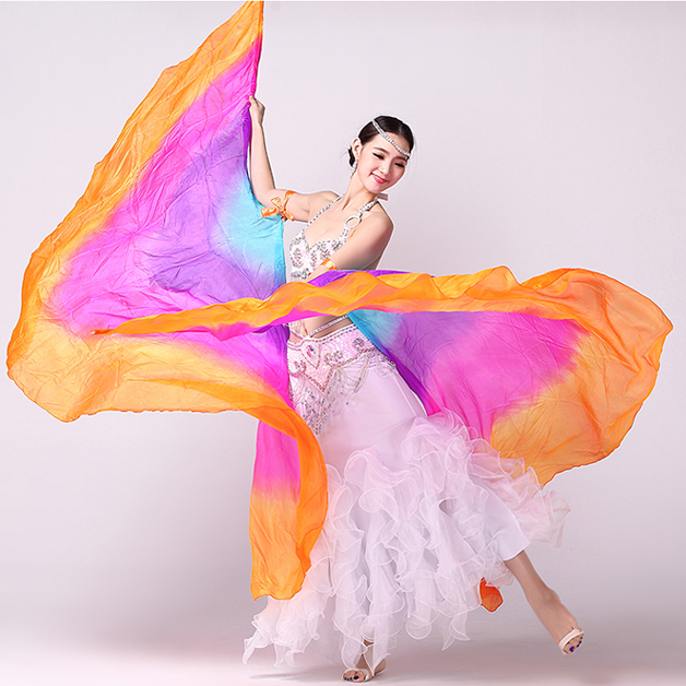 100% Silk Stage Performance Props 1 Pair Half Moon Silk Veil Dance Colorful With Wooden Sticks Belly Dance Isis Wings (no Stick)