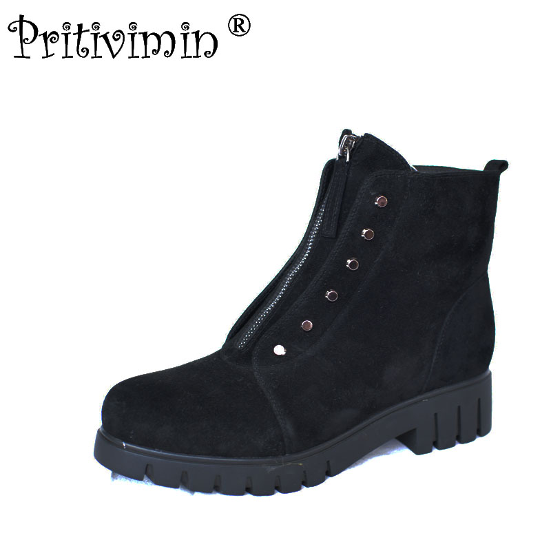 2017 laies thick low heel warm real fur lined motorcycle boots Women short ankle boots girl leather winter shoe Pritivimin FN46