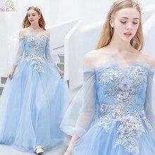 Elegant Light Blue Formal Party Princess Girls Evening Dresses 2019 Boat Neck Off Shoulder vestidos de gala Prom Gowns
