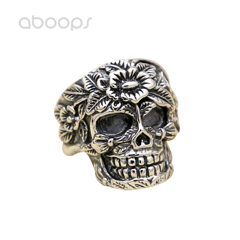 все цены на Gothic 925 Sterling Silver Skull Open Ring Engraved Flower for Men Boys Adjustable Free Shipping
