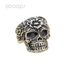 Gothic 925 Sterling Silver Skull Open Ring Engraved Flower for Men Boys Adjustable Free Shipping rhinestone sterling silver engraved leaf ring