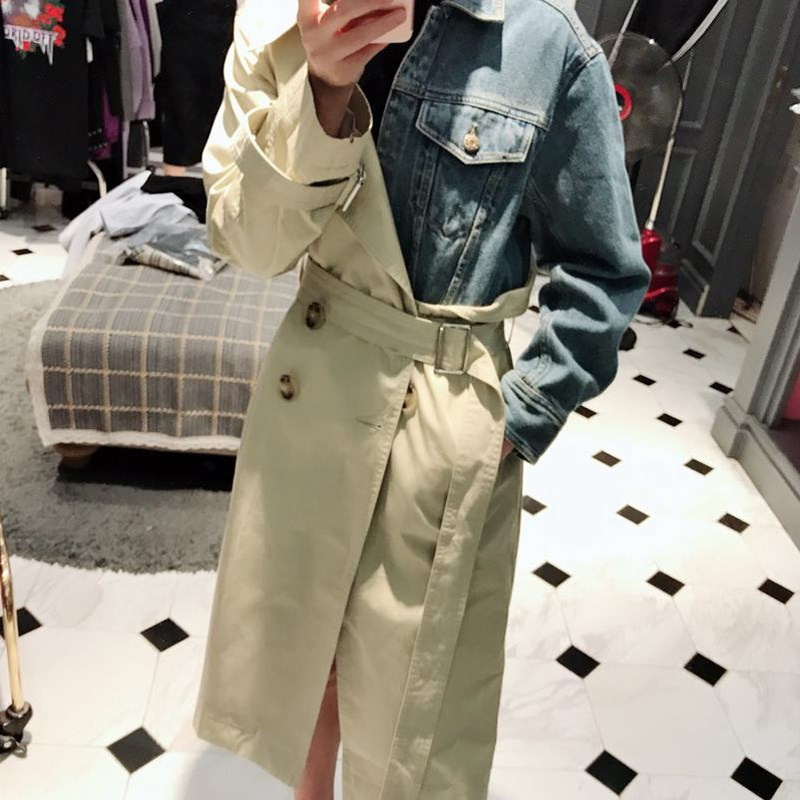 SuperAen Europe Fashion   Trench   Coat for Women 2019 Spring and Autumn New Temperament Lapel Denim Stitching Windbreaker Female